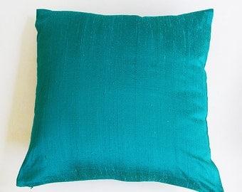 turquoise  blue dupioni  silk pillow. Decorative turquoise blue silk cushion  cover. Luxury  pillow.
