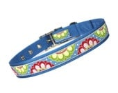 blue, green and berry floral medallion metal buckle dog collar (1 inch)