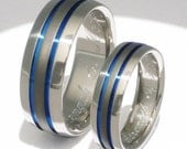 Titanium Wedding Set - Titanium Engagement Set - Titanium Promise Ring Set - Thin Blue Line  And Sable - stsa11