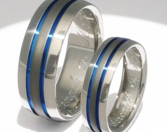 Titanium Wedding Set - Titanium Engagement Set - Titanium Promise Ring Set - Thin Blue Line  And Sable - stsa11