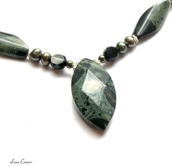 Green Sea Sediment Jasper Necklace Green Stone by IncDesigns  |Green Jasper Jewelry