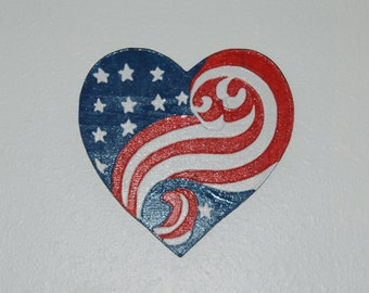 Red, White & Blue Patriotic Heart Wood Carving - hand painted - 13067