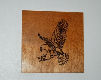 Wood vector carved eagle - hand painted - 13082
