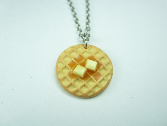 waffle necklace food jewelry food necklace best friend