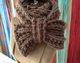 SALE PENELOPE Chunky Knit Bow Cowl In Stock Colors