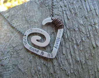 You Will Forever Be My Always Custom Hand Stamped Spiral Heart Pendant Necklace by MyBella