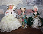 Vintage French Plastic Dolls- Lot of 3- Victorian Style Dresses- Sleepy Eyes- Blinkins Eyes- Hand painted Face