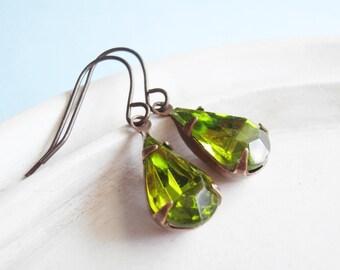 Peridot Sparkly Earrings - Vintage Teardrop Earrings