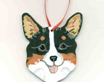 Hand-Painted WELSH CORGI TRI-Color Face Wood Christmas Ornament Artist Original...Nicely Painted