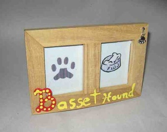 Final Markdown Sale...BASSET HOUND Dog Breed Wood Desktop Double Photo Frame w/Pawprint Charm