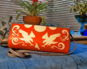 Hope and the Impending Doom hand painted faux leather purse
