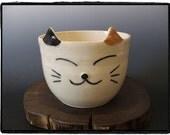 Large Super Cute Calico Cat Bowl by misunrie