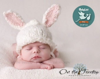 Newborn Bunny Hat, Selected Top 12 Etsy Gift by BabyList Bunny Hat with White and Pink Bunny Ears for Newborn and Baby - Photography Prop
