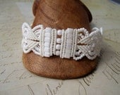 RESERVED for Kathy Pearly White Beaded Macrame Bracelet Cubic Rows Brial Wedding