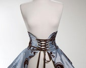 Blue and Brown Damask Flocked Cincher Skirt M/L- MADE TO ORDER - corsairsboutique