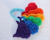 handful of love baby's first toy in roygbiv by yourmomdesigns (rts) made from eco friendly upcycled t-shirt yarn montessori inspired