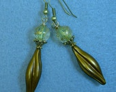 Vintage German Mustard Yellow Twist Lucite Bead Earrings, Vintage Clear Gold Splatter ,Brass