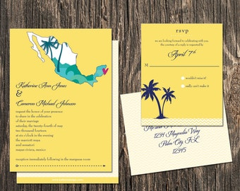Mexico Wedding Invitation Set - Mexico Destination Wedding