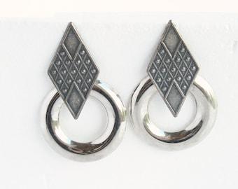 1980s Silver Door Knocker Earrings Pierced Vintage 1980s Big Rock n Roll Antiqued Silvertone Triangles Dangle Hoops