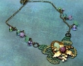 Give Wings to Your Dreams Charm Necklace Butterfly Vintage Tooling Altered Art Mixed Media