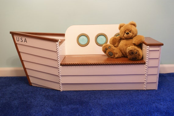 Childrens Kids Bedroom Furniture Set Toy Chest Boxes Ikea: Toy Box Toy Chest Nautical Nursery Boat Bench By