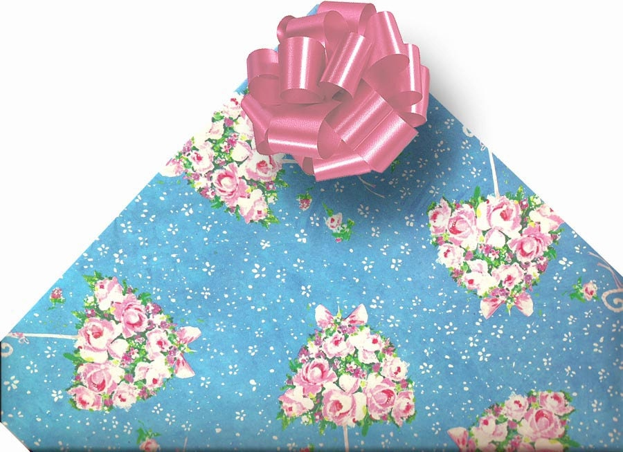 Wedding Gift Wrapping: 1960s Bridal Wedding Shower Gift Wrapping Paper By