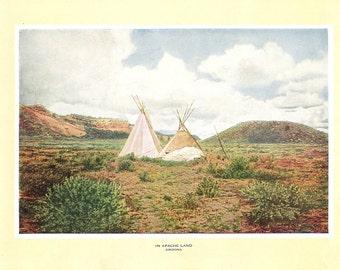 1927 Print of Apache Land, Arizona. FREE U.S. SHIPPING