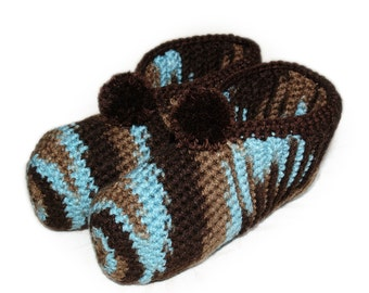 Brown and Turquoise Slippers, Crocheted Slippers, Adult Slippers, Mens Slippers, Womens Slippers, Earthy Slippers, Warm Winter Slippers