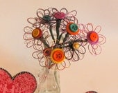 Wire and Button Flowers- With Stems