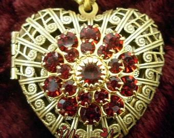 Filigree Heart Vintage Solid Brass Bronze Locket And Chain Necklace RUBY Red Rhinestones Miss-art SparklingTreasures2U OOAK