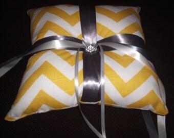 Yellow and White Chevron Ring Bearer Pillow