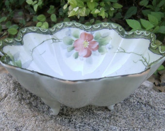 Vintage Nippon Noritake Footed Bowl - Hand Painted Raised Enamel Floral Bowl  - Bowl With Scalloped Edges - Decorative Bowl - Collector Bowl