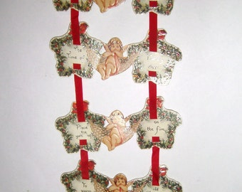 Vintage Angel Garland - Unique Angel Gift Tag Garland - Christmas Decoration - Paper and Ribbon Garland - Holiday Decor