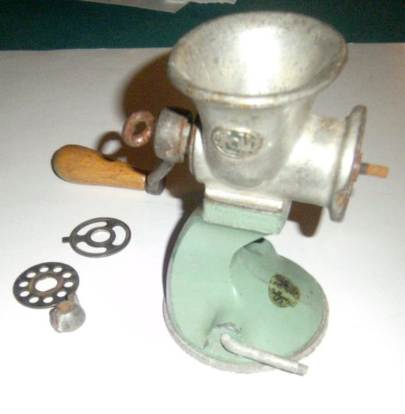 Hand Crank Kitchen Appliances: Vintage Spong 601 Grinder Green Meat Grinder Kitchen