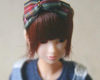 Jiajiadoll- blue checked bowknot head hoop fits momoko and Misaki and OB and unoa light