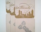 Set of 6 Metallic Atlanta Letterpress Coaster Set