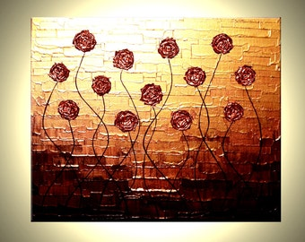 ROSES Flowers Red Poppies Huge Textured Painting Impasto Metallic Copper Abstract Flower Art By Lafferty - 16x20