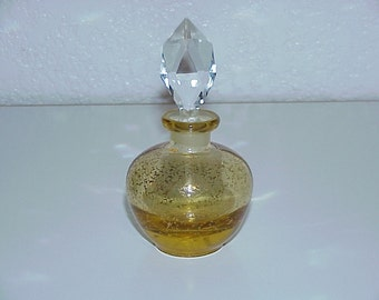 Vintage--Glass--Perfume Bottle--IRICE--Dappled Gold Design--With Faceted Crystal Prism Stopper--Original Label