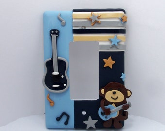 Monkey, Rockstar, Guitar, Music Children's Single Light switch or outlet cover cover
