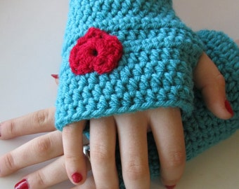 Crochet fingerless gloves, robins egg blue with red hearts