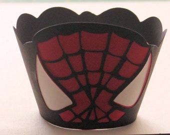 Spiderman Inspired Cupcake Wrappers -- set of 12