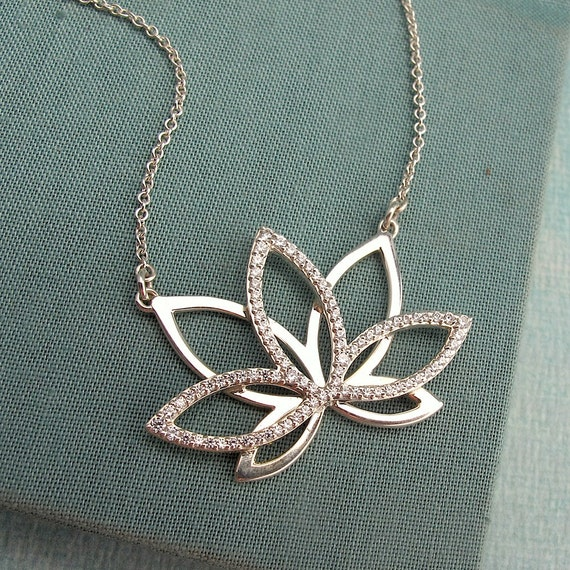 Items Similar To Crystal Lotus Necklace In Sterling Silver