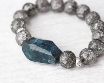 Kyanite Crystal Bead Bracelet / Sterling Silver Beadwork / Rain Cloud Storm Grey Metallic Sea Ocean Blue / Aqua Teal Shiny Cracked Quartz
