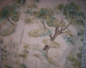 VintageCurtains Pair of Curtains: Fifties Turquoise and Moss Long Narrow Panels