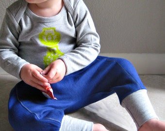 downtown aladdin pants - baby clothing - bright blue/heather grey - from marissa v. - front page Etsy