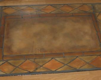 Items Similar To Floorcloth Rug Tuscan Tile Design Hand