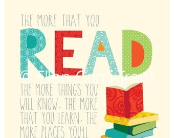 Dr. Seuss- the more you read- kids wall art