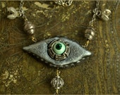 Reserved for V - SALE 26 eur Eye necklace - mystic eye  -  OOAK Handmade jewelry sculpt
