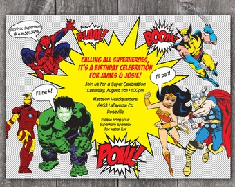 Superhero - Custom DIGITAL Photo Birthday Party Invitation Invite for ANY AGE