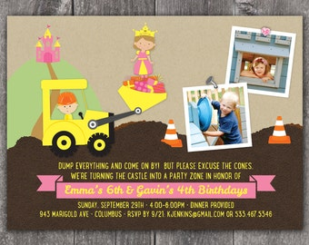 Princess and Construction Party - Custom Photo Birthday Boy / Girl Invitation